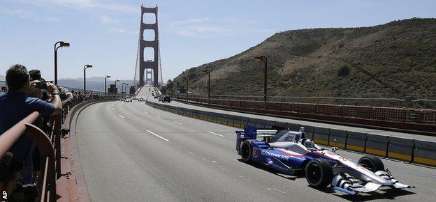 Marco Andretti on the Golden Gate Bridge
