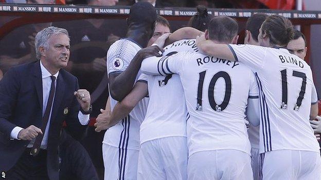 Jose Mourinho and his players