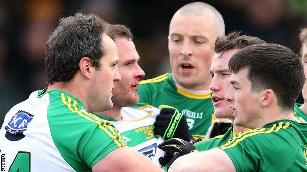 Kerry ended Donegal's unbeaten record in Division 1 in a bad-tempered game at Tralee