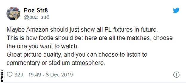 Tweet saying 'Maybe Amazon should just show all PL fixtures in future.'