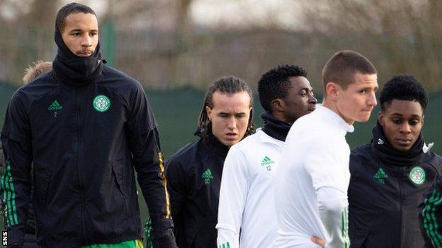 Celtic defender Christopher Jullien (left) at training on Wednesday