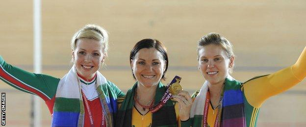 Becky James (left) won a silver medal in the sprint at the Commonwealth Games in 2010 behind Australian Anna Mears (centre)