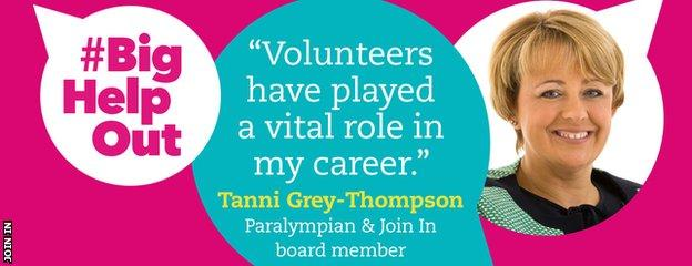 """graphic with a quote and image from Tanni Grey-Thompson saying """"Volunteers have played a vital role in my career"""""""