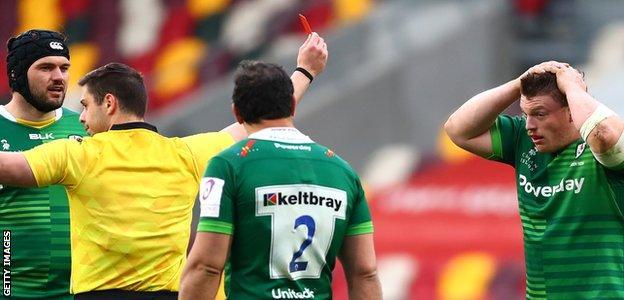 London Irish prop Will Goodrick-Clarke (far right) is sent off by referee Nika Amashukeli