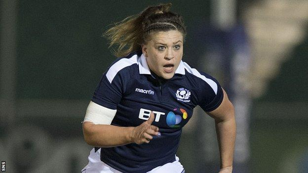 Jemma Forsyth in action for Scotland Women
