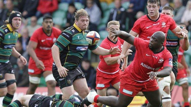 Josh Ibuanokpe in Premiership Rugby Cup action for Saracens