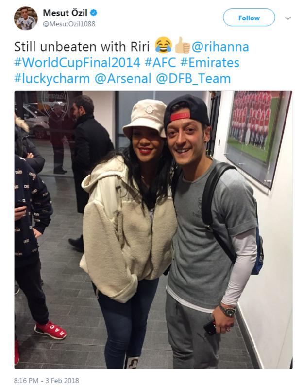 Mesut Ozil and Rihanna