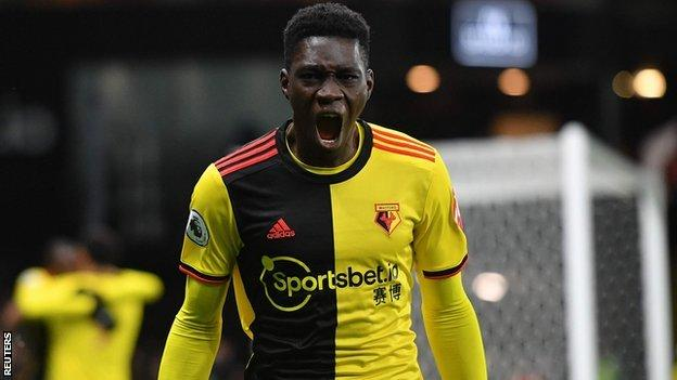 Ismaïla Sarr celebrates scoring for Watford