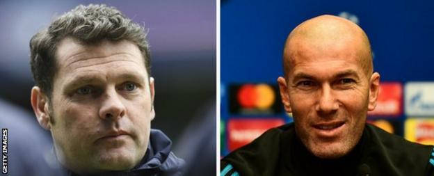 Rangers' interim boss Graeme Murty and Real Madrid manager Zinedine Zidane