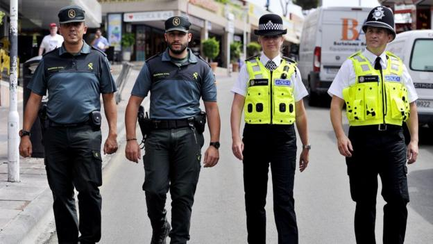 UK and Spanish police in Magaluf