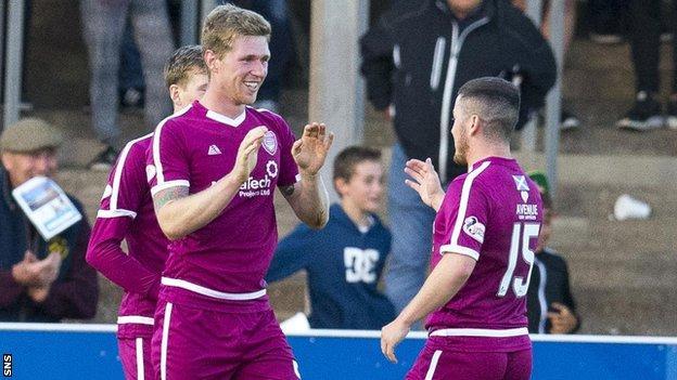 Michael McKenna celebrate scoring for Arbroath