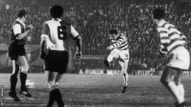 Gemmell scores in Celtic's 1970 European Cup final defeat by Feyenoord