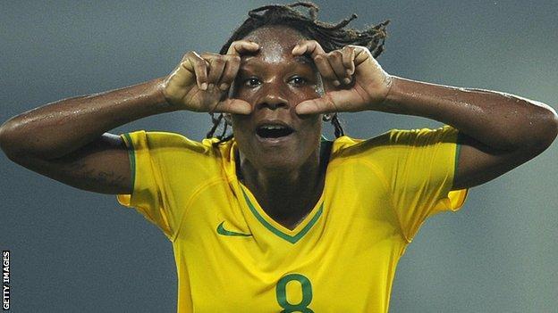 Brazil's Formiga celebrates