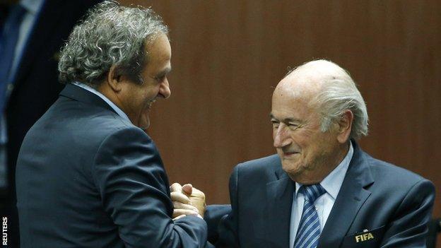 Michel Platini with Sepp Blatter