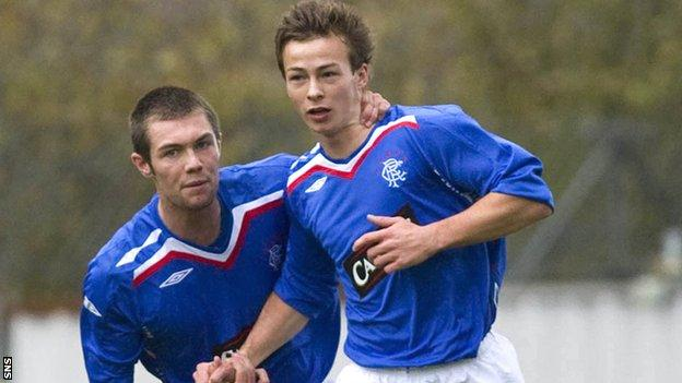 Steven Lennon is congratulated by Jordan McMillan after scorinig against Celtic in a reserve match in 2007