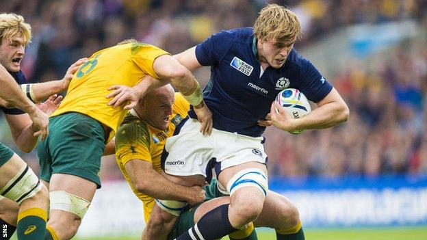 Jonny Gray is tackled during Scotland's last-gasp defeat by Australia in the 2015 Rugby World Cup