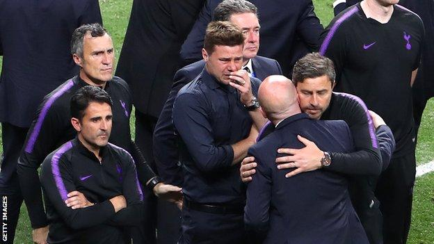 Mauricio Pochettino cries after defeat in the Champions League final to Liverpool