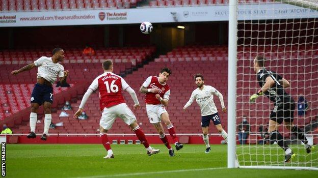 Raheem Sterling scores Manchester City's winner against Arsenal on 21 February
