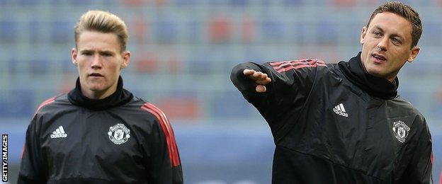 Manchester United's Scott McTominay and Nemaja Matic