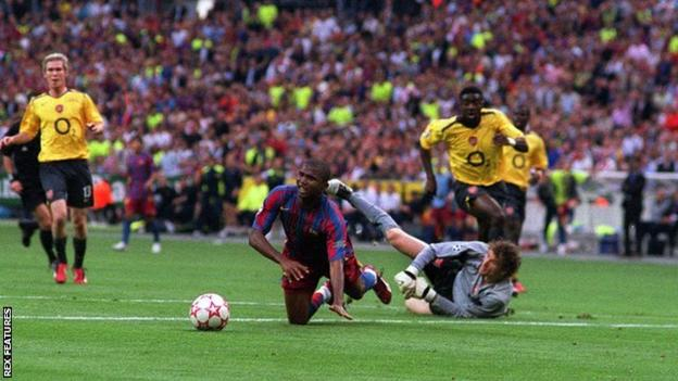 Arsenal keeper Jens Lehmann was sent off early in the game as Arsenal lost 2-1 to Barcelona in the 2006 Champions League final - Pires was substituted as a result