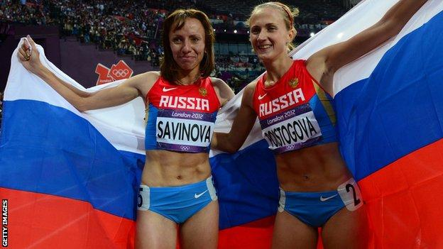 Mariya Savinova (left) and Ekaterina Poistogova celebrate at London 2012
