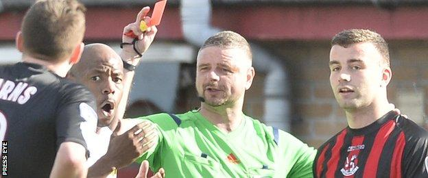Carrick's Miguel Chines and Colin Coates of Crusaders were sent off in the 23rd minute at Seaview