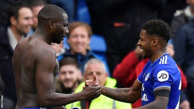 Kadeem Harris (right) celebrates with Cardiff City team-mate Sol Bamba
