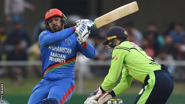 Afghanistan's Samiullah Shenwari in action against Ireland