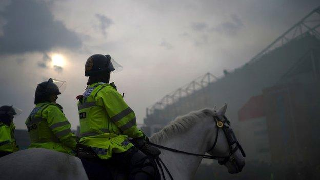 Mounted police were in place at the stadium, where arrests were made before kick-off
