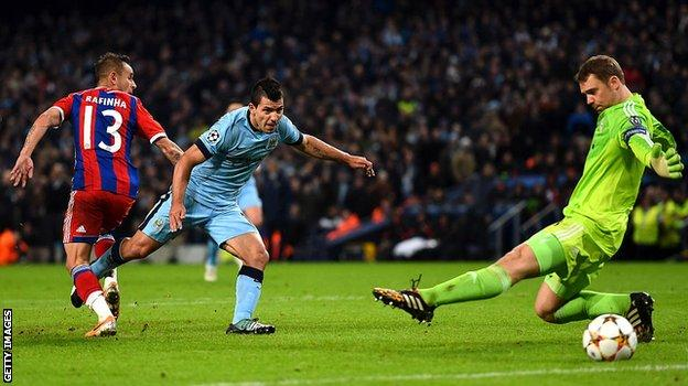 Aguero completes his hat-trick with a 91st-minute winner in a 3-2 victory over Bayern Munich in 2014