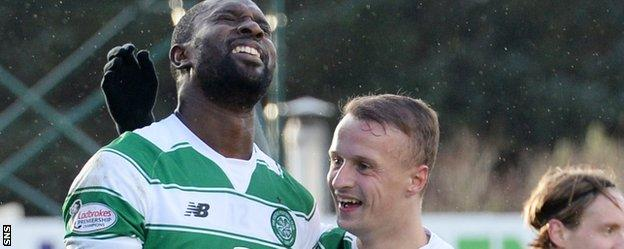 Celtic's Carlton Cole and Leigh Griffiths celebrate