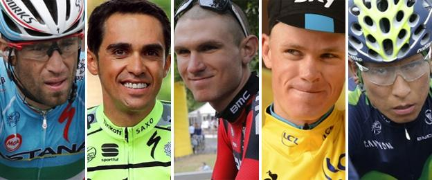 (l-r) Vincenzo Nibali, Alberto Contador, Tejay van Garderen, Chris Froome and Nairo Quintana