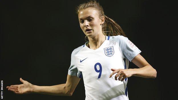 Ellie Brazil in action for England Under-17s