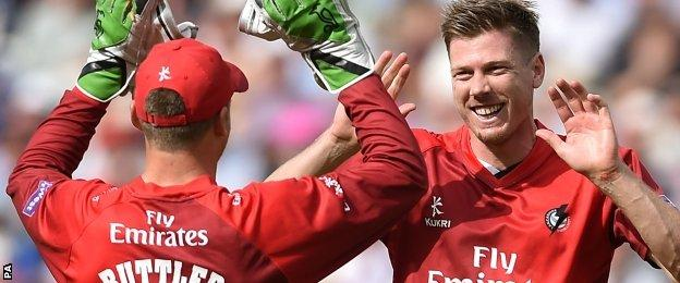 James Faulkner, right, missed the ODI tour of England because of suspension and spent the summer with Lancashire