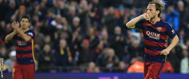 Ivan Rakitic celebrates scoring for Barcelona against Deportivo de La Coruna