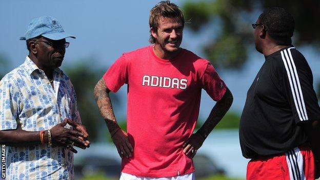 David Beckham with Jack Warner in Trinidad and Tobago