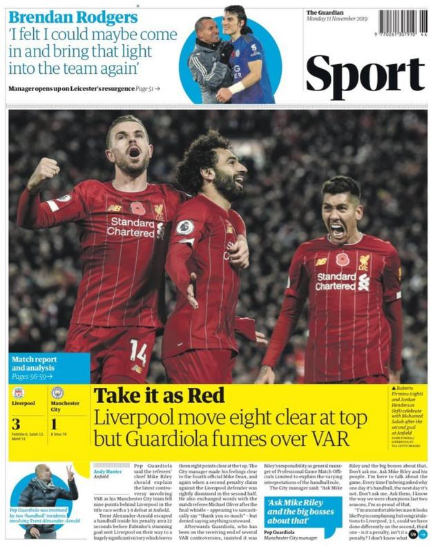 The lead page of the Guardian sport section