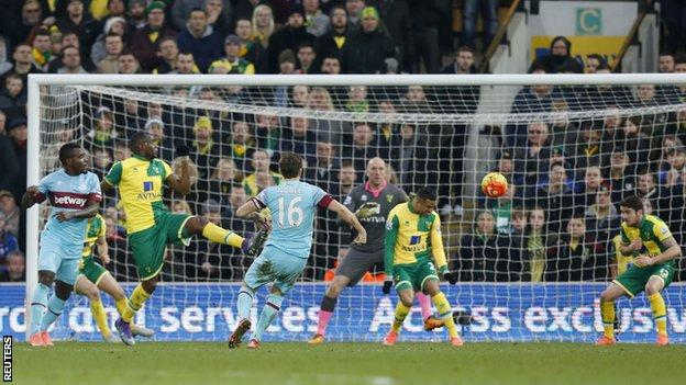 Mark Noble scores for West Ham at Norwich