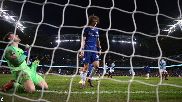 Manchester City score their sixth goal against Chelsea earlier in February