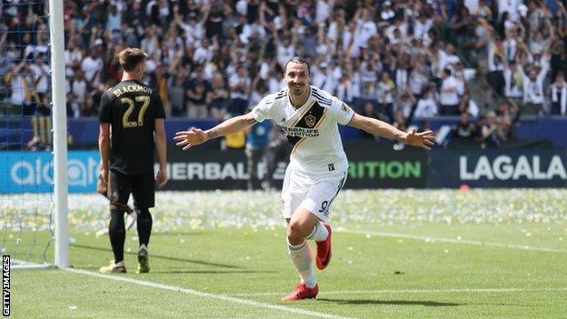 Zlatan Ibrahimovic of Los Angeles Galaxy celebrates after scoring a goal to make it 4-3 during the MLS match between Los Angeles FC and Los Angeles Galaxy
