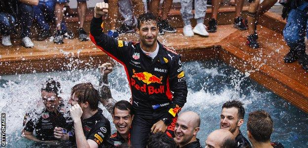Red Bull F1 driver Daniel Ricciardo celebrates winning the 2018 Monaco Grand prix