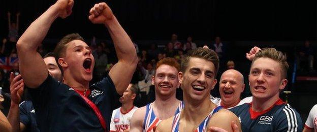 GB gymnasts celebrate