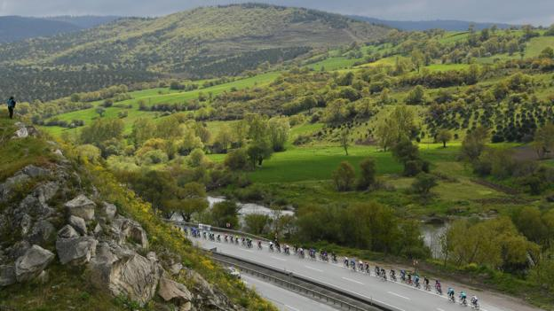 BURSA, TURKEY - APRIL 19: Landscape/ Peloton / during the 55th Presidential Cycling Tour Of Turkey, Stage 4 a 194,3km Stage from Balıkesir to Bursa 236m / TUR / @tourofturkeyTUR / on April 19, 2019 in Bursa, Turkey. (Photo by Justin Setterfield/Getty Images)