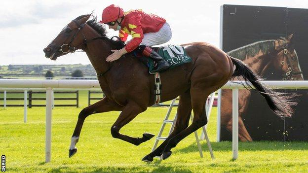 Declan McDonogh rides Thunder Moon to victory in the National Stakes on day two of the Irish Champions Weekend