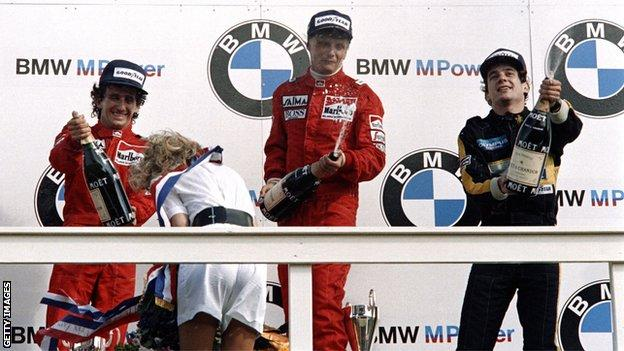 Prost, Lauda and Senna on the podium at the Dutch Grand Prix