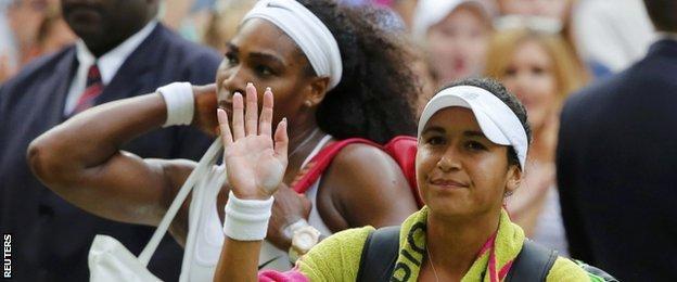Heather Watson and Serena Williams