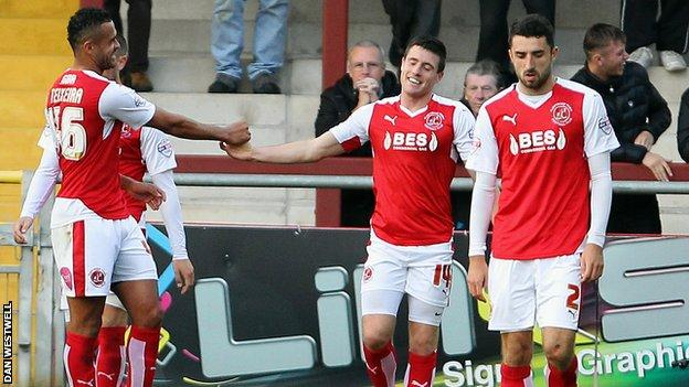 Bobby Grant is congratulated after scoring in his side's win over Burton