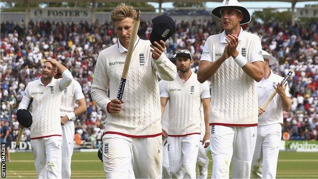 Joe Root leads England off after their Test match win over Australia in Cardiff in 2015
