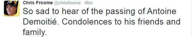 Chris Froome tweet