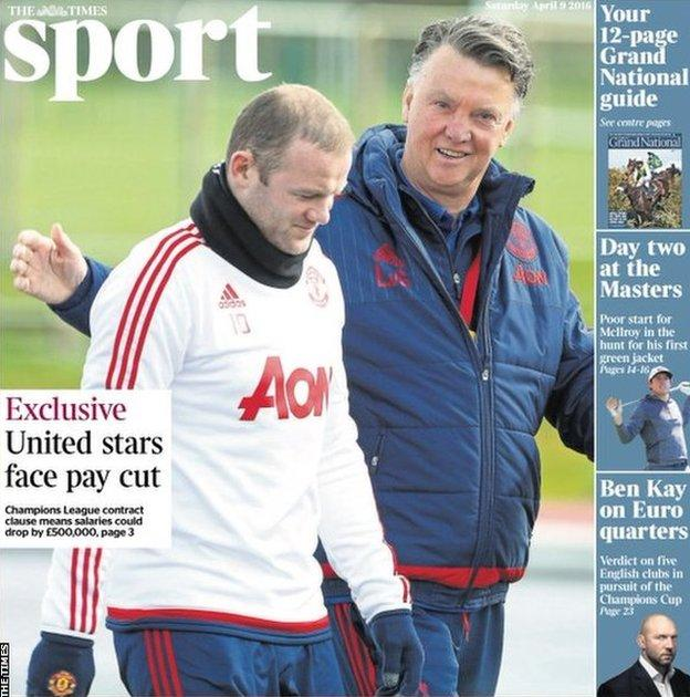 Saturday's Times Sport front page